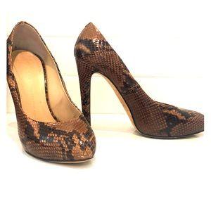 Giuseppe Zanotti brown snakeskin heels